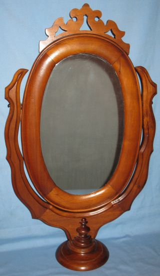 Antique Victorian Walnut Free Standing Wishbone Mirror Dresser/chest/vanity Top photo