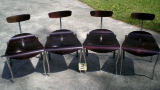 4 Vintage Modern Thong Side Chairs From Hot House Lot 3 photo