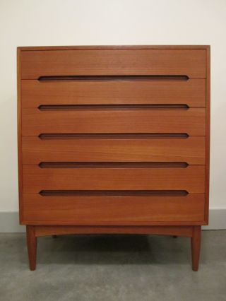Danish Modern Vintage Teak 6 Drawer Dresser Mid Century Chest Highboy Eames Era photo