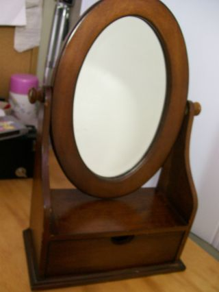 Vintage Dresser Vanity Jewelry Box Oval Tilt Mirror photo