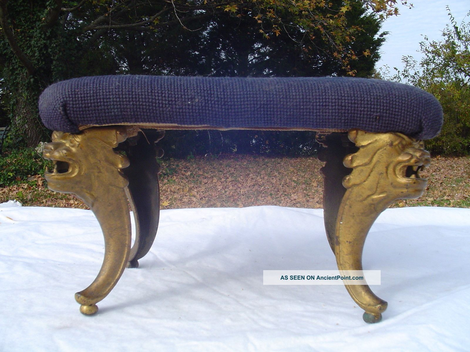 Antique Victorian Cast Iron Ornate Legs And Needlepoint Top 1800-1899 photo