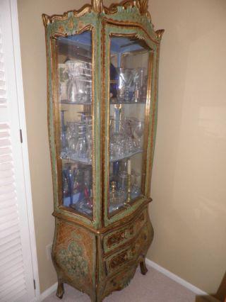 Antique Florentine Gilt Curio Cabinet photo