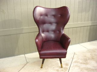 Vintage Mid Century Modern Round Wingback Swivel Throne Chair Papa Bear Style photo