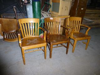 Solid Oak Vintage Library Chairs With Arms And Slatted Back - Six Available photo