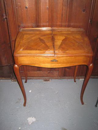 Antique French Ladie ' S Inlaid Walnut Mechanical Desk photo