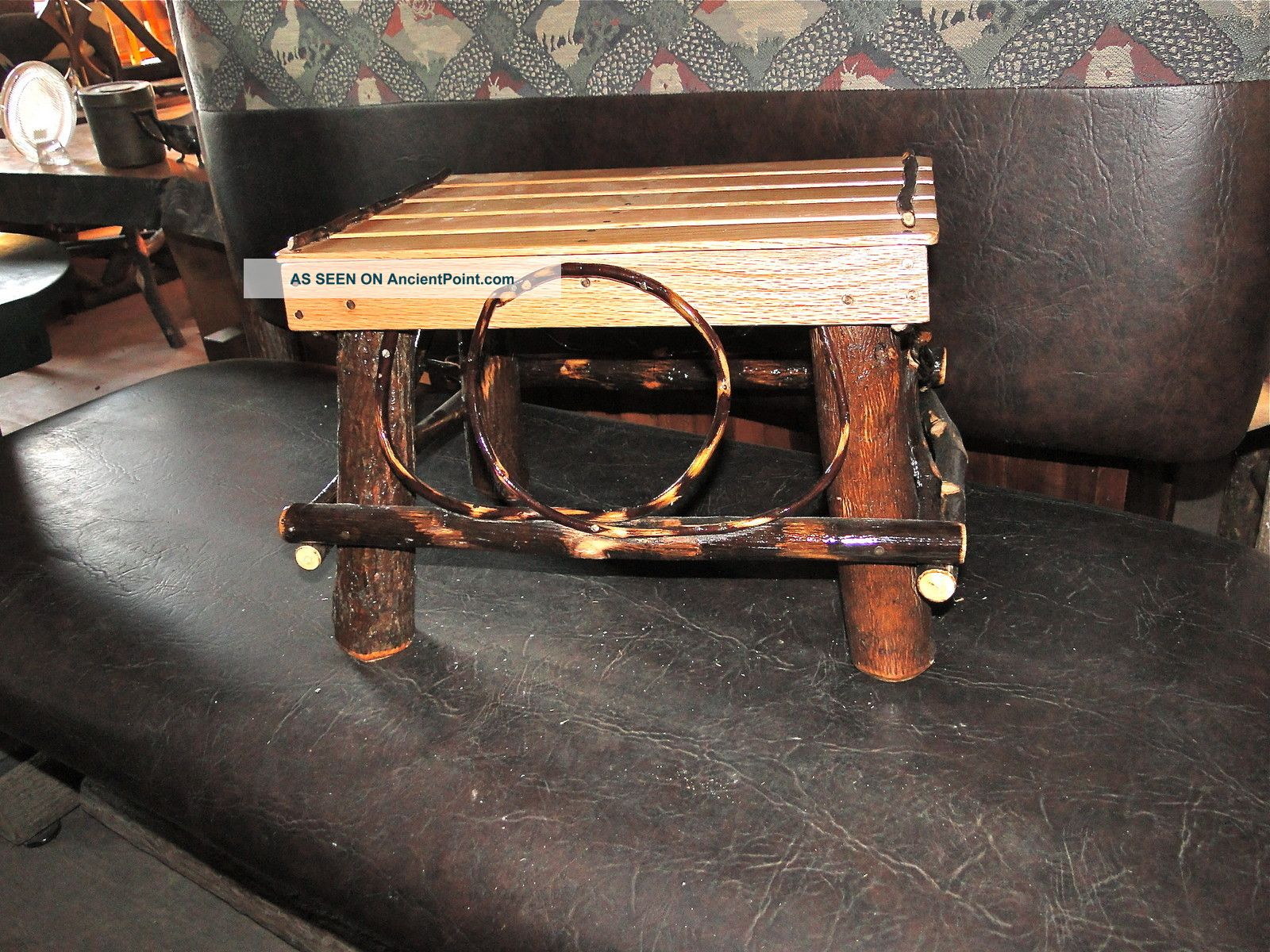 Adirondack Style Hickory And Oak Foot Stool Post-1950 photo