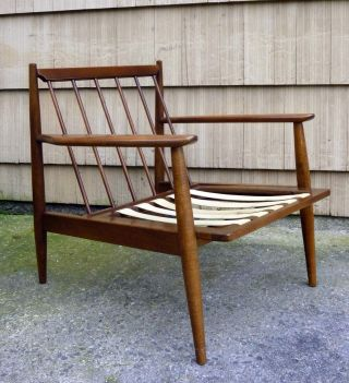 Antq Danish Modern Mid Century Baumritter Solid Walnut Lounge Chair Exclnt Cond photo