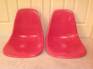 Pair Of 2 Hot Pink Herman Miller Side Shell Chair Charles Eames photo