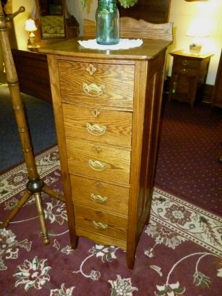 Antique Oak Dresser Highboy Lingerie W/ Brass Hardware Bureau Made In Usa photo
