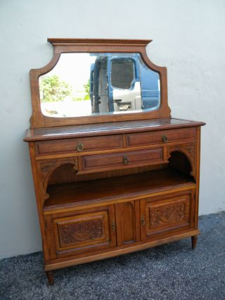 Victorian Oak Carved Marble - Top Buffet/server With Mirror 2488 photo