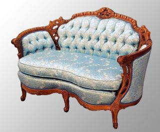15708 Antique Carved Walnut French Victorian Style Loveseat photo
