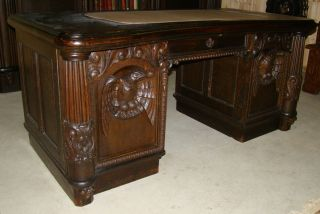 Large Carved Oak Eagle Desk photo