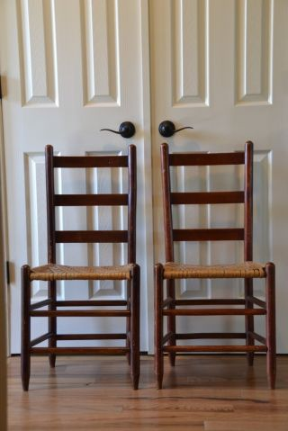 Pair Early Primitive Ladder Back Woven Bottom Chairs photo