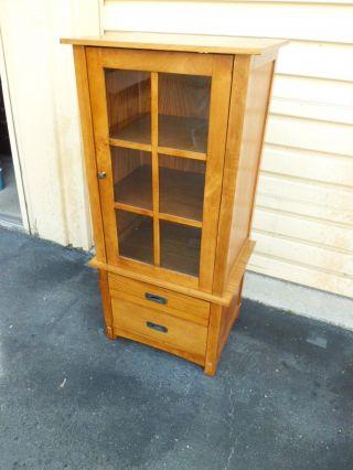 50675 Mission Oak Entertainment Storage Cabinet Bookcase photo
