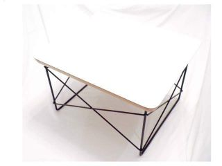 White Low Table Rod Black Base Side Table Modern Eames photo