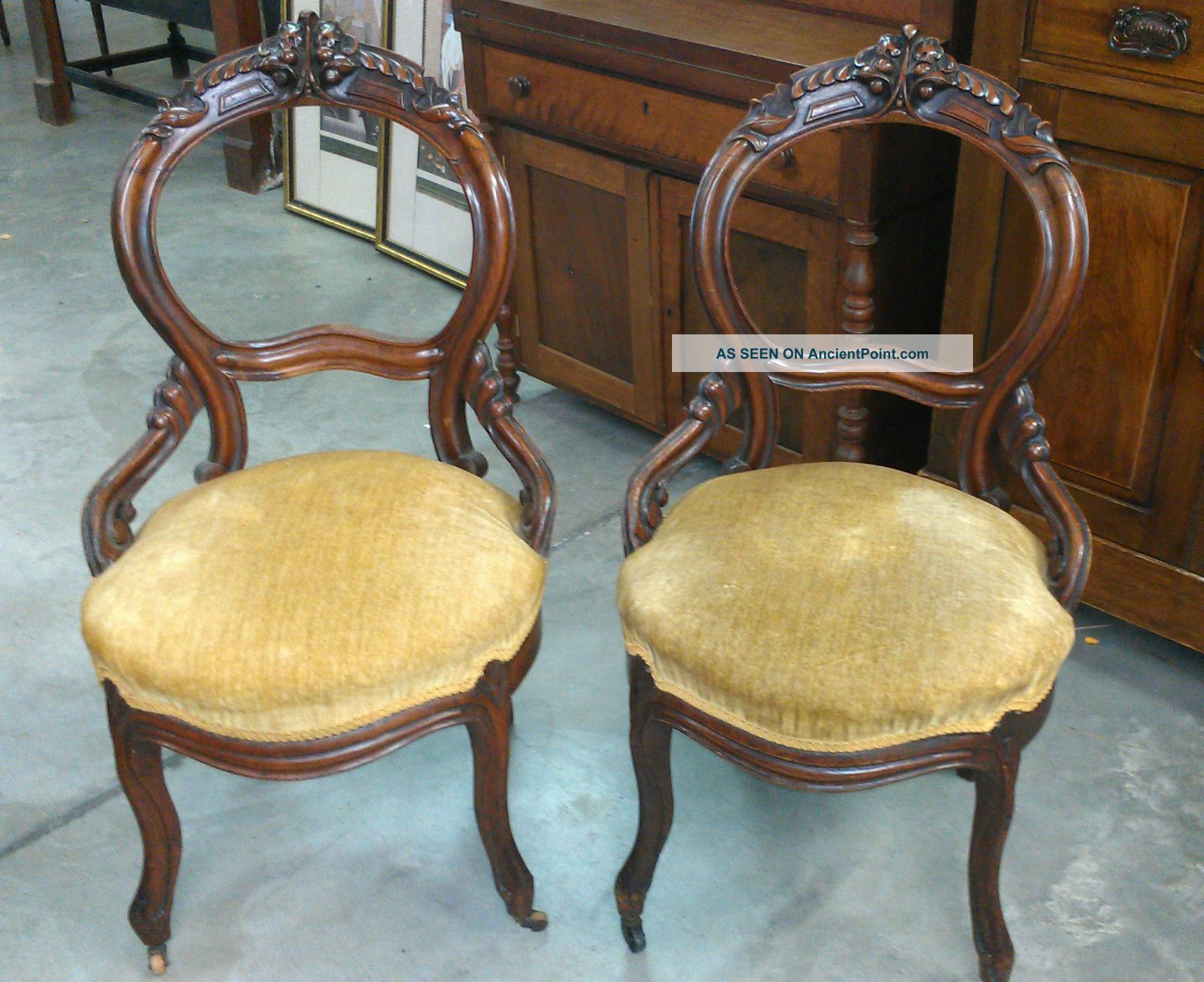 Pair Antique Victorian Carved Balloon Back Side Chairs Round Upholstered  Seats
