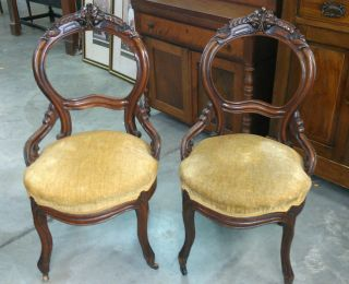 Pair Antique Victorian Carved Balloon Back Side Chairs Round Upholstered Seats photo
