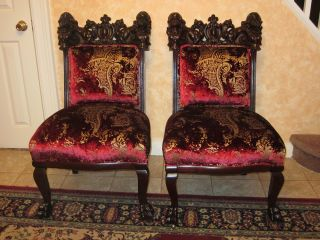 19c Antique Pair Of Chairs Hand Carved Mahogany Victorian Art Nouveau photo