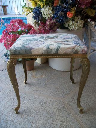 Vintage Italian Mod Dep Glam Gold Metal Vanity Stool Bench Chair Decor Queen Ann photo