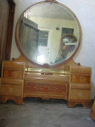 Mid Century 50s Art Deco Blonde Wood Lr Vanity And Mirror photo