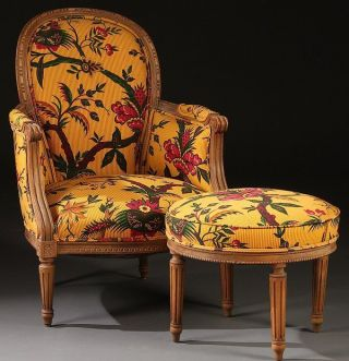 Louis Xvi Style Walnut Arm Chair And Ottoman photo