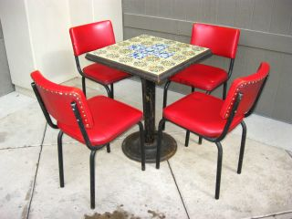 Vintage Mid Century Dining Dinette Set With 4 Chairs Spanish Tiled Top Patio Set photo