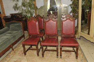 Spanish Dining Chairs Set Of 6 Chairs In Oak photo