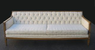 Vintage White French Provincial Tufted Sofa Couch Loveseat Chic Shabby photo