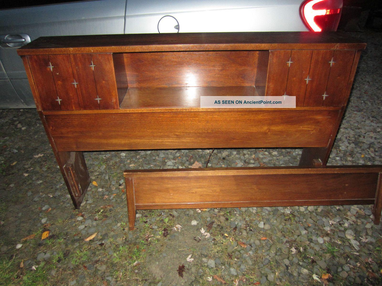 Image of: Danish Mid Century Modern Walnut Headboard Bed Footboard W Bookcase