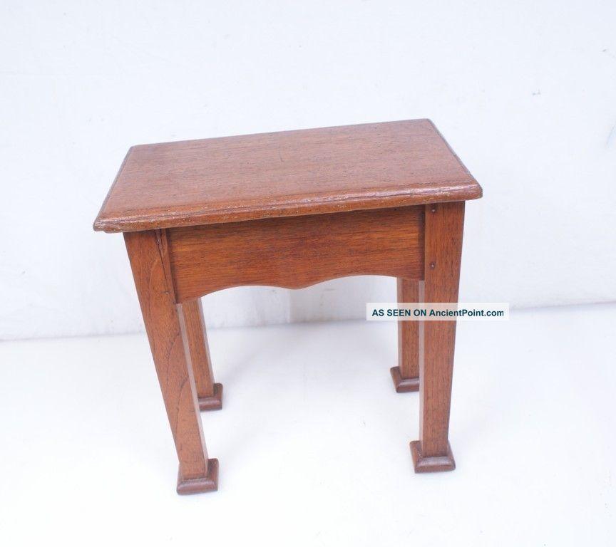 Antique / Vintage Step Stool Bench - Primitive Arts Crafts Oak Wood 1900-1950 photo