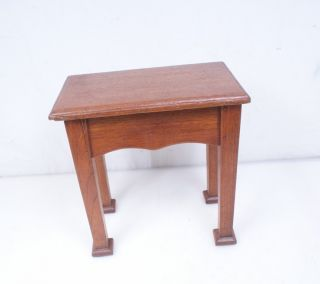 Antique / Vintage Step Stool Bench - Primitive Arts Crafts Oak Wood photo