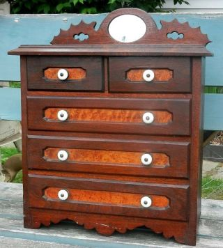 Fantastic Antique Miniature Chest Drawers Solid Birdseye Maple & Walnut Carved photo