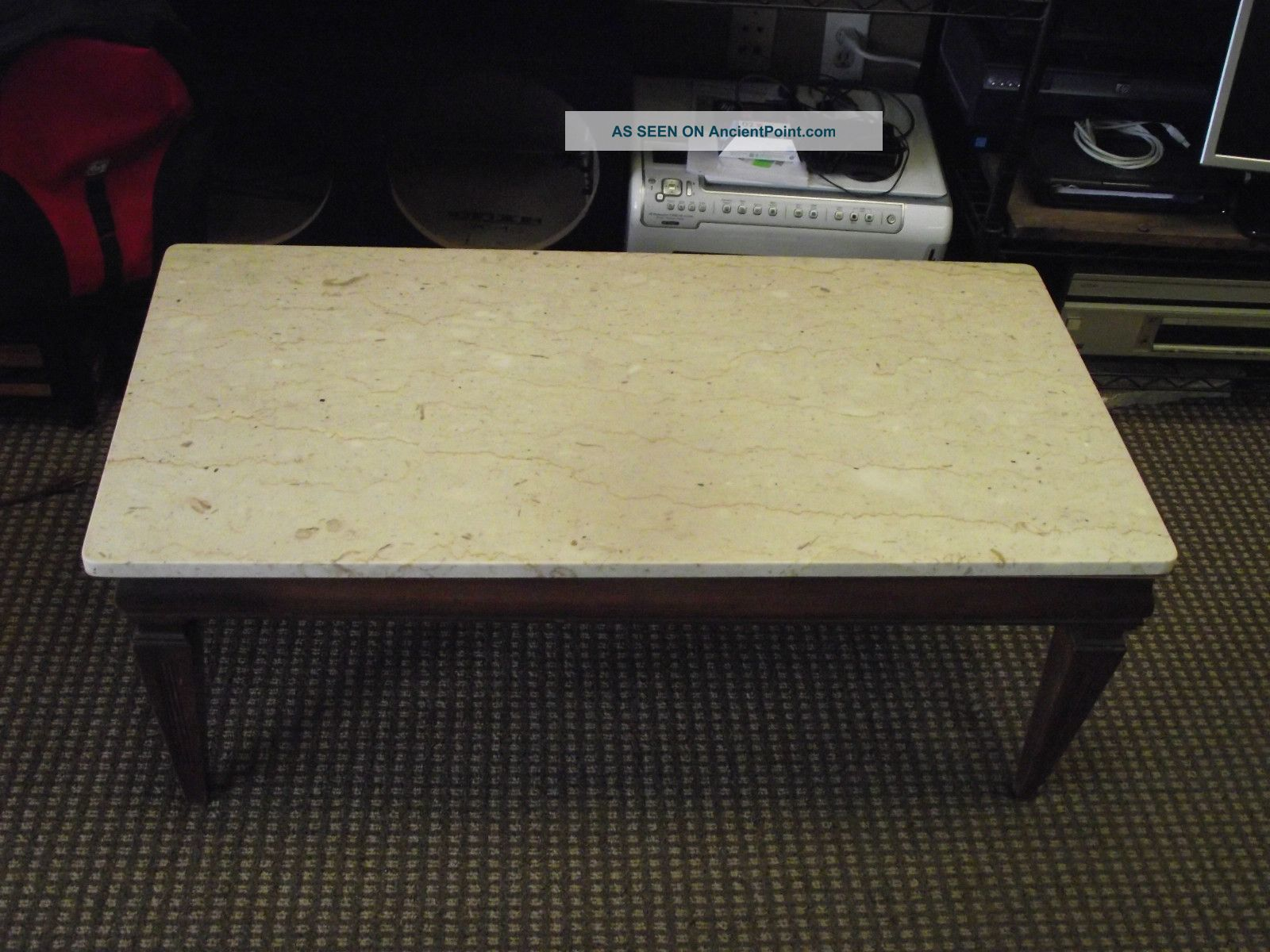 Marble Top Antique Coffee Table Vintage White Marble