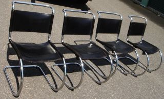 4 Modern Chairs,  Mies Van Der Rohe Style,  Chrome & Black Leather,  20th C.  Vintage photo
