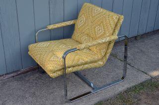 Mid Century Modern Milo Baughman Style Chair Chrome Vintage Design Eames photo