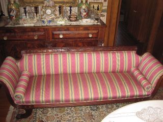 Antique Federal Style Couch/sofa Hand Carved Uphopholstery photo