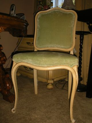 Vintage French Style Side Chair Velvet Upholstery Ivory Paint Desk Chair photo