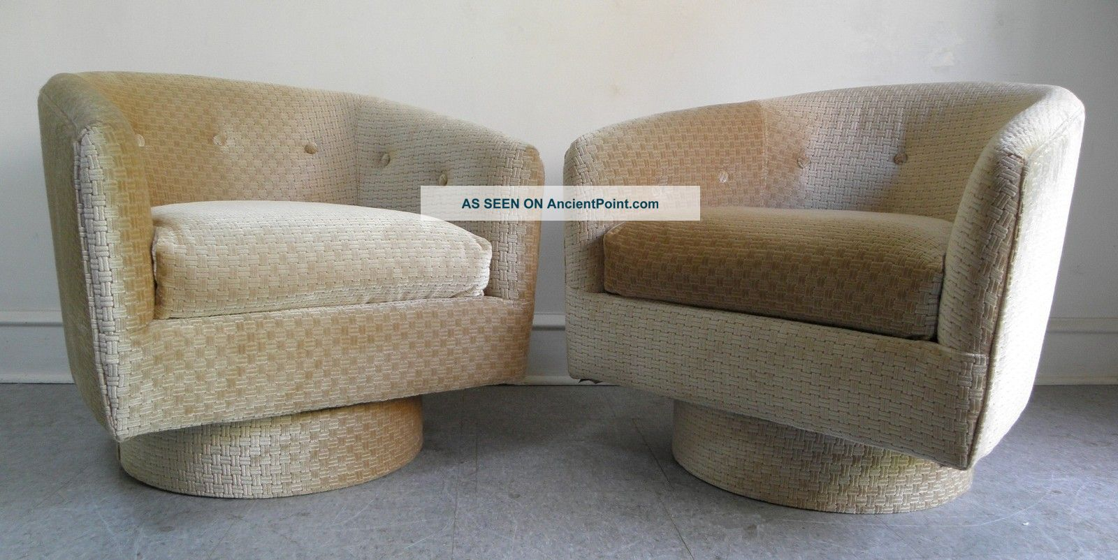 Mid century modern milo baughman style lounge swivel barrel chairs