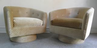 Pair Mid Century Modern Milo Baughman Style Lounge Swivel Barrel Chairs Carson ' S photo