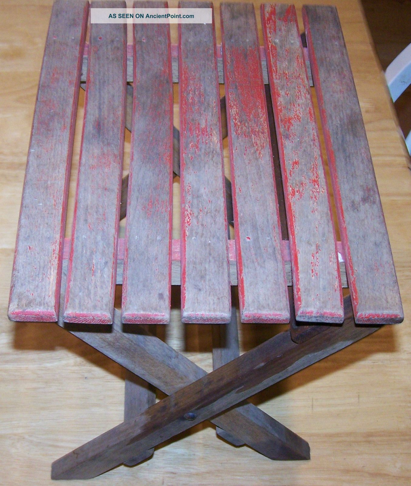Vintage Antique Wood Folding Step Stool Wooden Fold Seat Red Brown Rustic Child Unknown photo