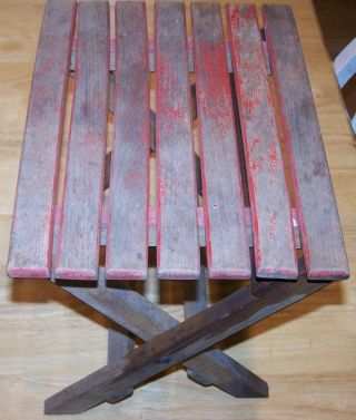 Vintage Antique Wood Folding Step Stool Wooden Fold Seat Red Brown Rustic Child photo