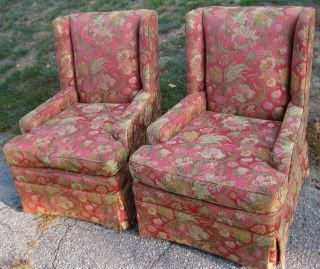 Pair Of Shabby ' N Chic Club / Boudoir Chairs W/ Floral Upholstery photo
