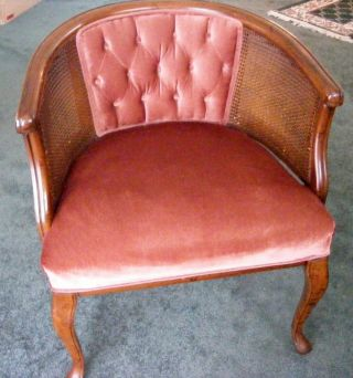 Vintage Barrel Cane Sitting Armed Button Chair W Brown Suede Velour Seat photo