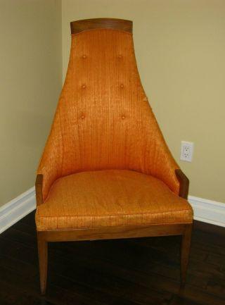 Orange Mid Century Modern Tall Back Arm Chair Hollywood Regency Retro photo