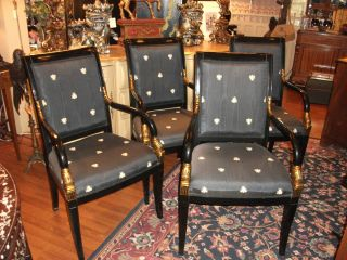 Set Of 4 Classic Regency Style Dolphin Arm Chairs photo