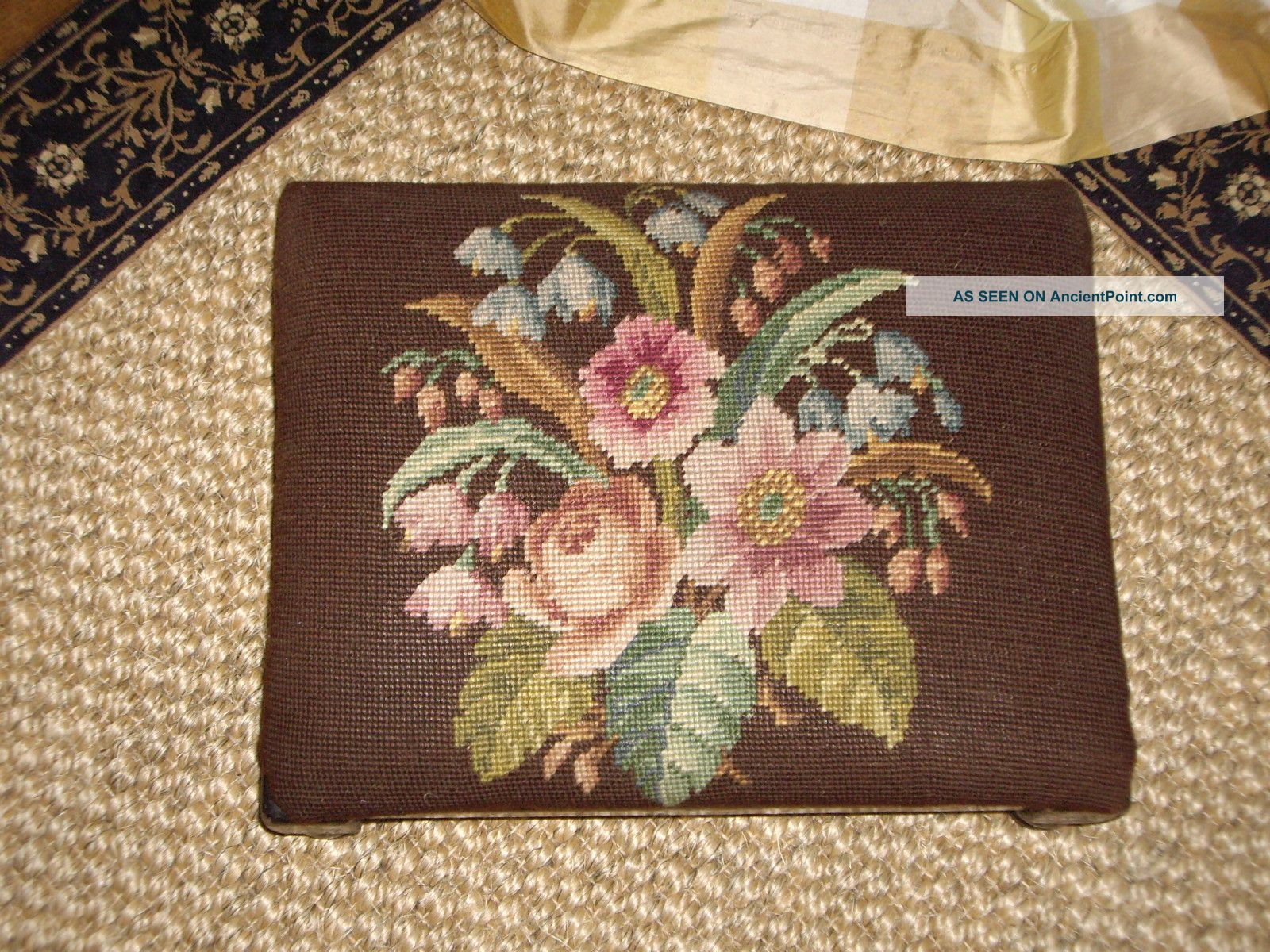 Antique French Petit Point Needlepoint Foot Stool 1800-1899 photo