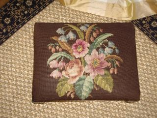 Antique French Petit Point Needlepoint Foot Stool photo