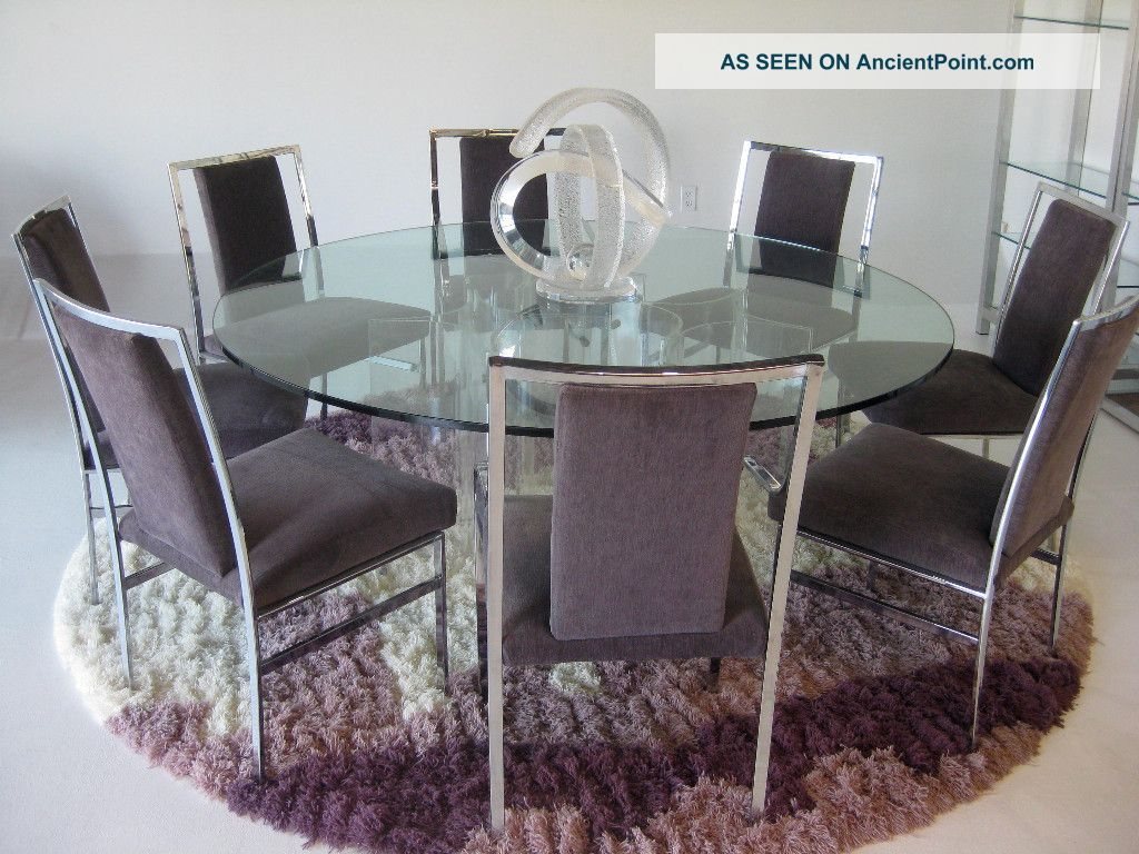 Huge Lucite And Glass Dining Table W/ 8 Chairs Mid Century ...