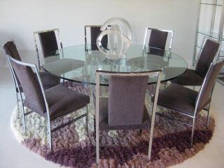 Huge Lucite And Glass Dining Table W/ 8 Chairs Mid Century Modern Milo Baughman photo