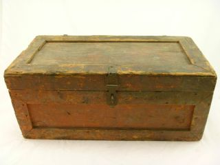 Vintage Antique Trunk Small Wooden Box Old Folk Art Early Crate photo